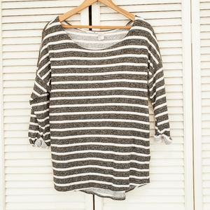 Scoop Neck Striped Top with 3/4 Pegged Sleeves